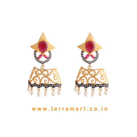 Elegant Antique Earrings With White, Pink Colour Stone & Pearl