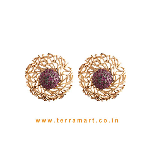 Dainty Antique Studded Earring With Pink Colour Stone