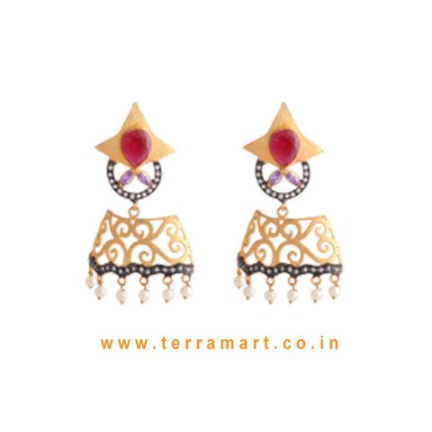 Elegant Antique Earrings With White, Pink, Violet Colour Stone & Pearl