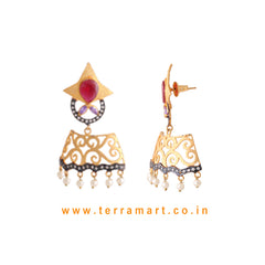 Terramart Jewellery - Antique Stylish Earring  for Women (Gold,White,Violet & Pink)