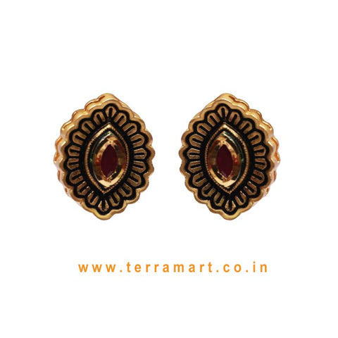 Designed Pretty Antique Earring With Pink Colour Enamel