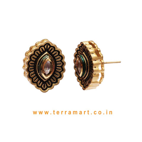 Fabulous Antique Studded Earring With White Kundan Stone
