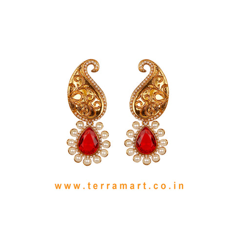 Mango Designed Antique Earring With Red & Gold Colour Stone & Pearl - Terramart Jewellery