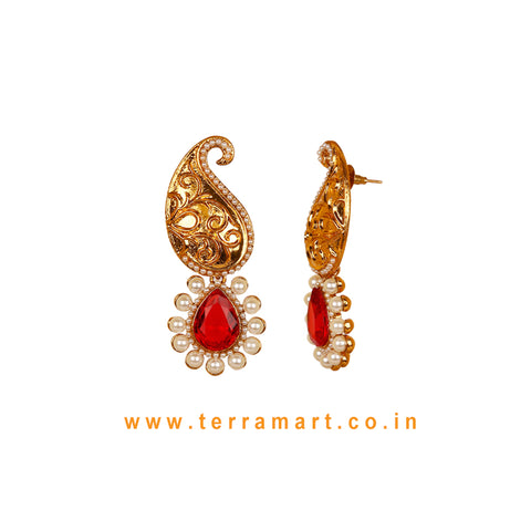 Mango Designed Antique Earring With Red Stone & Pearl