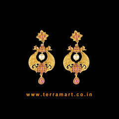 Terramart Jewellery - Antique Grand  Earring with Pearl for Girls / Women  (Pink & Gold _ Peacock)
