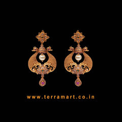 Peacock Designed Antique Earring With White, Pink, Green, Gold Color Stone & Pearl - Terramart Jewellery