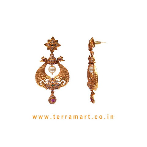 Peacock Designed Antique Earring With White, Pink, Green Color Stone & Pearl
