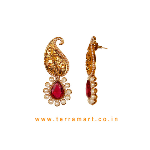 Mango Designed Antique Earring With Pink Stone & Pearl