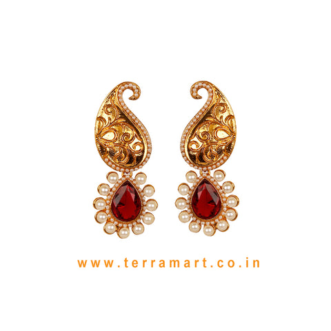 Mango Designed Antique Earring With Maroon Stone & Pearl