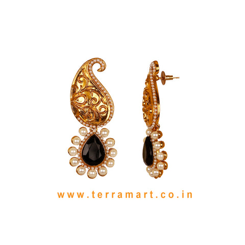 Mango Designed Antique Earring With Black Stone & Pearl