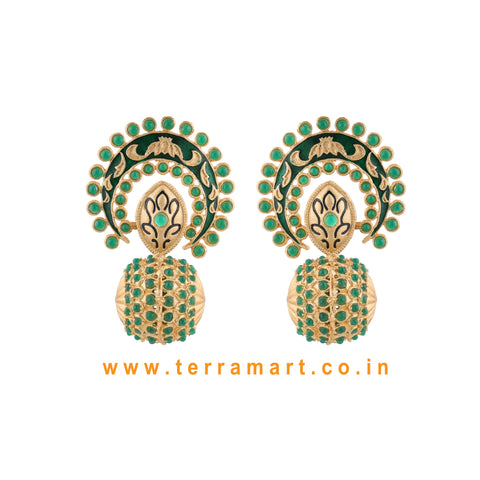 Stylish Antique Earring With Green Colour Enamel
