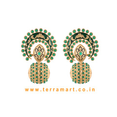 Stylish Antique Earring With Green & Gold Colour Enamel - Terramart Jewellery