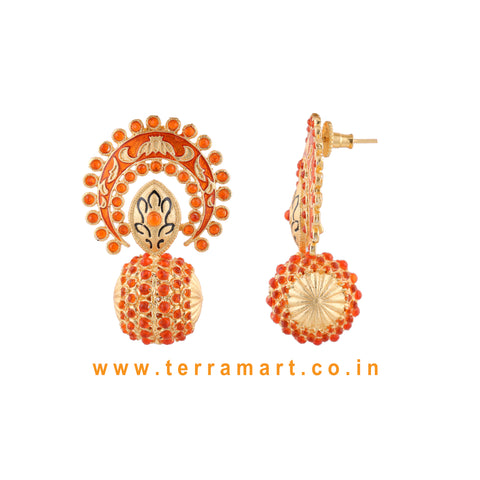 Stylish Antique Earring With Orange Colour Enamel