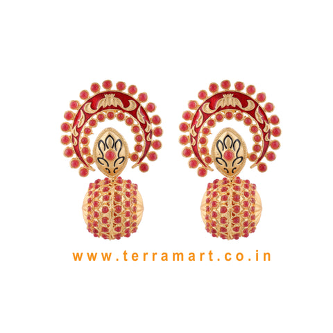 Stylish Antique Earring With Red Colour Enamel