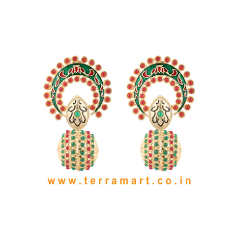 Stylish Antique Earring With Pink & Green Colour Enamel