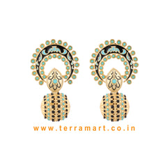 Stylish Antique Earring With Green & Black Colour Enamel