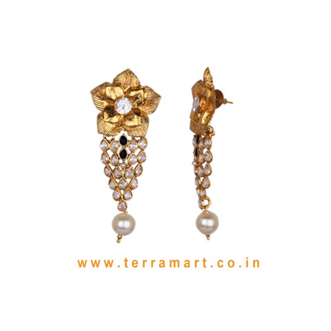 Floral Antique Earring With Kundan Stone & Pearl