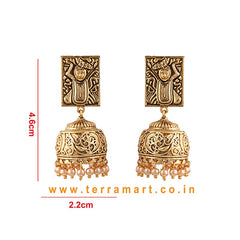 Traditional Antique Jumka Gold Colour with Pearl -  Terramart Jewellery