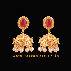 Artistic Antique Matte Jumka With Pink, Gold Stone & White Pearl -  Terramart Jewellery