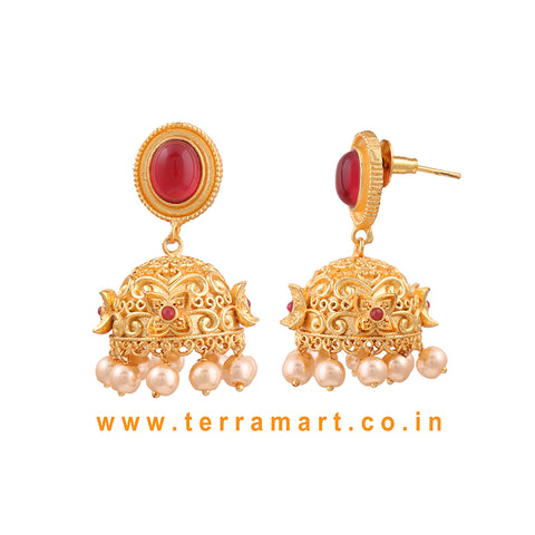 Terramart - Artistic Antique Matte Jumka for Women / Girls (Gold, Pink &Pearl)