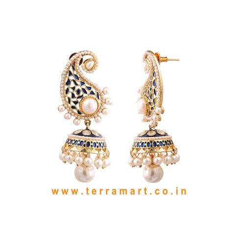 Terramart - Beautiful Antique Jumka with Pearls for Women/Girls (Gold,White,Blue& Gold)