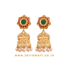 Floral Designed Antique Pearl Jumka With Pink, Green & Gold Color Stone -  Terramart Jewellery