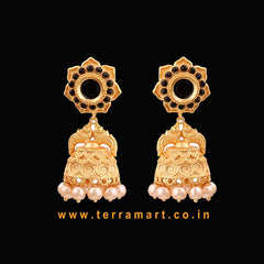 Floral Designed Antique Pearl Jumka With Black & Gold Color Stone -  Terramart Jewellery