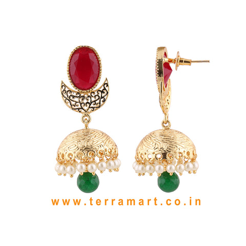 Terramart - Antique Matte Designed Jumka with Pearls for Women (Gold,Pink,White & Green)