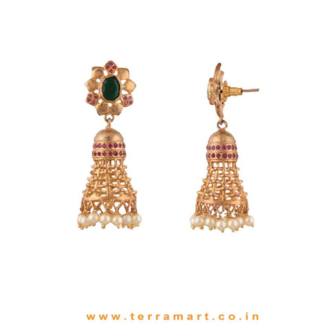Floral Gold, Pink & Green Colour Stoned Pearl Drop Antique Jumka set - Terramart Jewellery