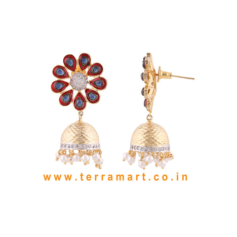 Terramart Jewellery - Grand Enamel Antique Matte Jumka for Women (Gold,white & Black)