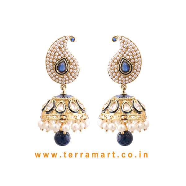 Terramart Jewellery - Mango Shape Studded Antique Jumka for women (Gold,White, Black & Pearl)