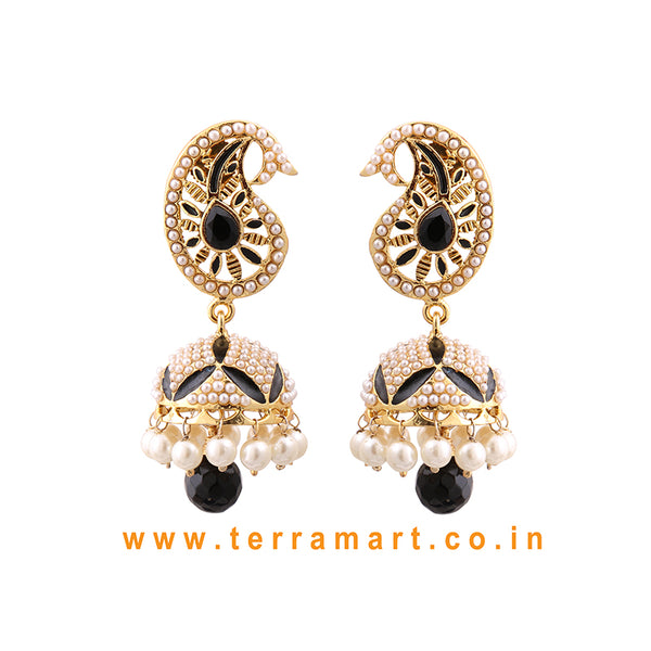 Terramart Jewellery - Grand Antique Jumka with white Beads for women (Gold,White, Black & Pearl)