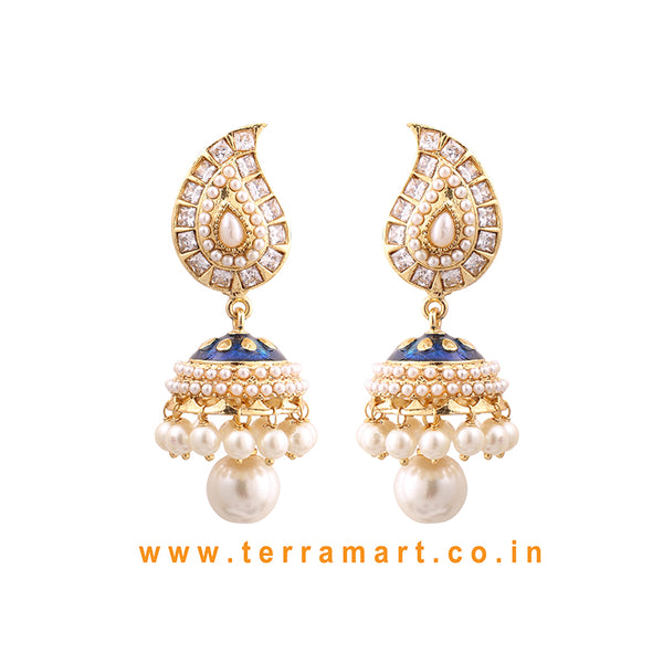Terramart Jewellery - Traditional  Antique Jumka for women / Girls (Blue Enamel, White & Gold)
