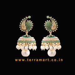 Charming Gold, Green Antique Jumka Set With Pearl  -  Terramart Jewellery