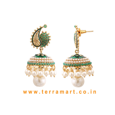 Terramart Jewellery - Antique Jumka with White Pearl for women (Gold & Green Enamel)