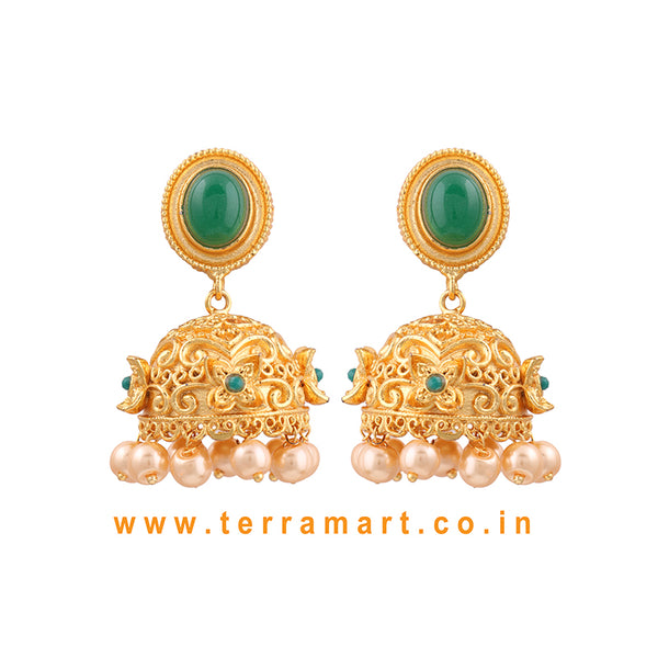 Terramart Jewellery - Artistic Grand Antique Jumka with Pearls for women / Girls (Green & Gold)