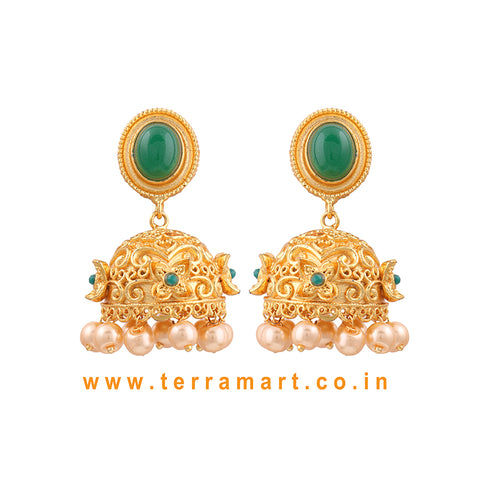 Artistic Antique Matte Jumka With Green & Gold Stone & White Pearl -  Terramart Jewellery