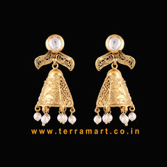 Terramart Jewellery - Stylish Antique Jumka with Pearl for Girls/women (Gold & White)