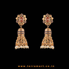 Floral Gold, Brown & Blue Colour Stoned Pearl Drop Antique Jumka set - Terramart Jewellery