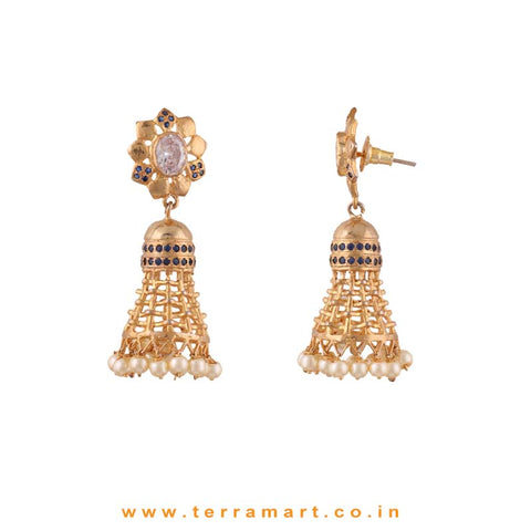 Floral White, Blue & Gold Colour Stoned Pearl Drop Antique Jumka set - Terramart Jewelery