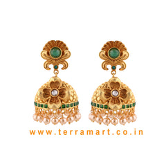 Terramart Antique Jewellery - Traditional Grand Jumka with Pearls for Women/ Girls (Gold,Green & White)