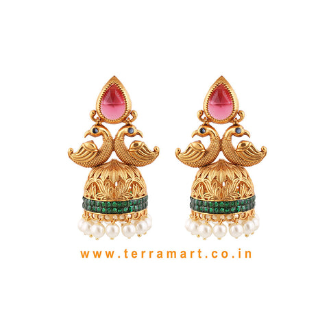 Peacock Designed Wonderful Pinkm, Green, Gold Antique Finish Jumka Set With Pearl  -  Terramart Jewellery