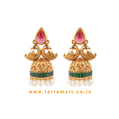 Terramart Antique Jewellery- Beautiful Peacock Jumka with beads for women (Pink, Green & Gold )