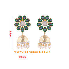 Well Floral Designed Green, Blue Enamel Antique Jumka With White & Gold Stone & Pearl  -  Terramart Jewellery