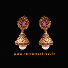 Pink & Gold Indian Designer Casual look Antique jumka Set With Pearl  -  Terramart Jewellery