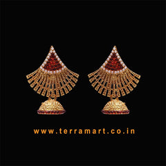 Exquisite Antique Jumka Set With White & Maroon Pearl ( Gold ) -  Terramart Jewellery