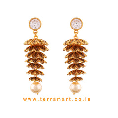 Multi Layered Antique Jumka Set With White & Gold Stone & Pearl  -  Terramart Jewellery