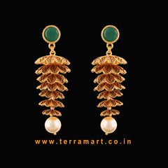 Terramart Antique Stylish Jewellery- Grand Matee Jumka with Pearl  for Girls/Women(Green & Gold)