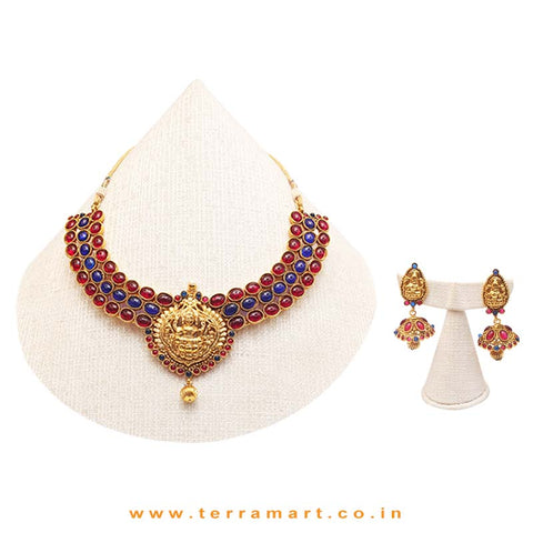 Golden Heavy Antique Bridal Lakshmi Dollar Necklace with Pink & Blue Stone & Gold Antique Beads along with Beautiful Lakshmi Jumka