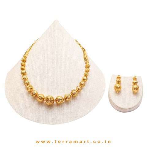 Antique ( Gold ) Beads Designed Chain Set - Terramart Jewellery